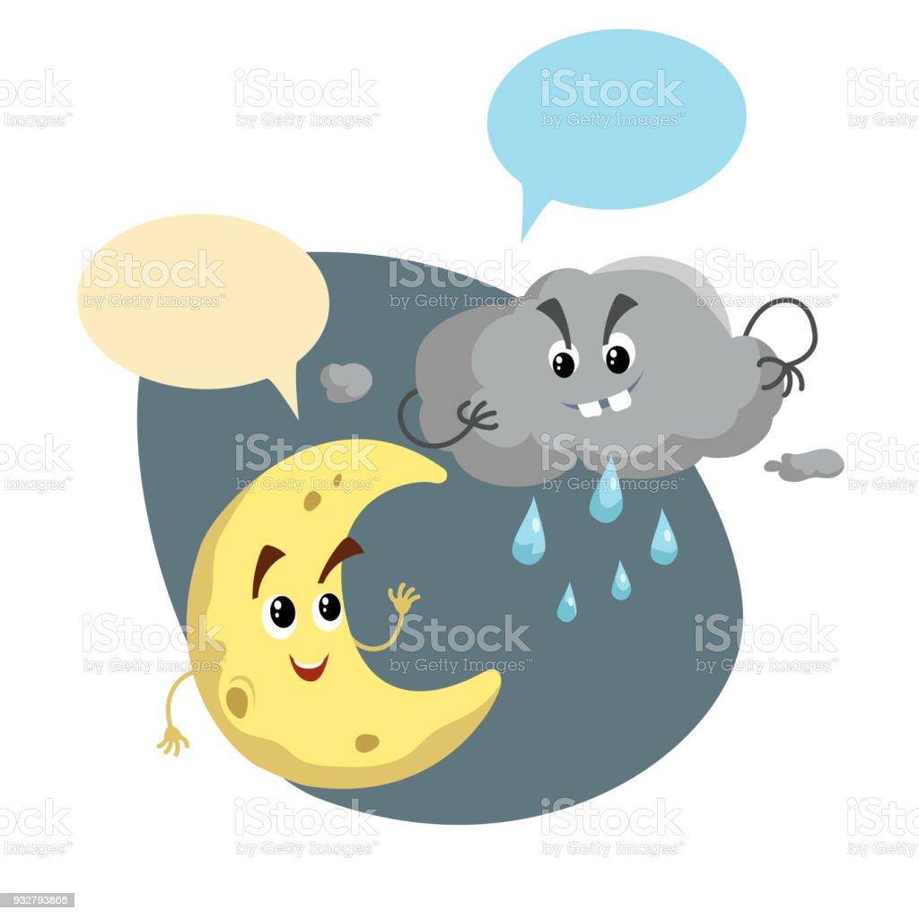 笑顔の三日月と嵐雲のマスコットを漫画します天気記号です月と雨の文字を