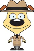 A cartoon detective puppy smiling.