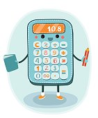 Cartoon smiling electronic calculator character