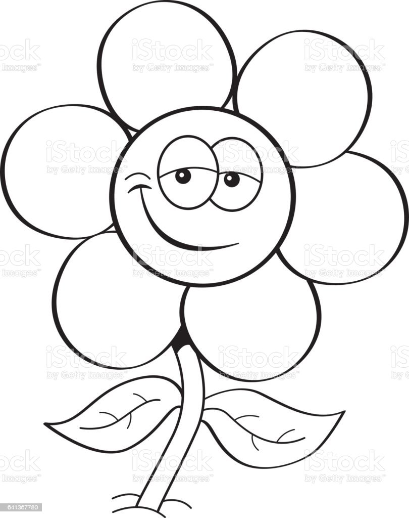 Cartoon Flower Line Drawing : Cartoon smiling flower stock vector art more images of