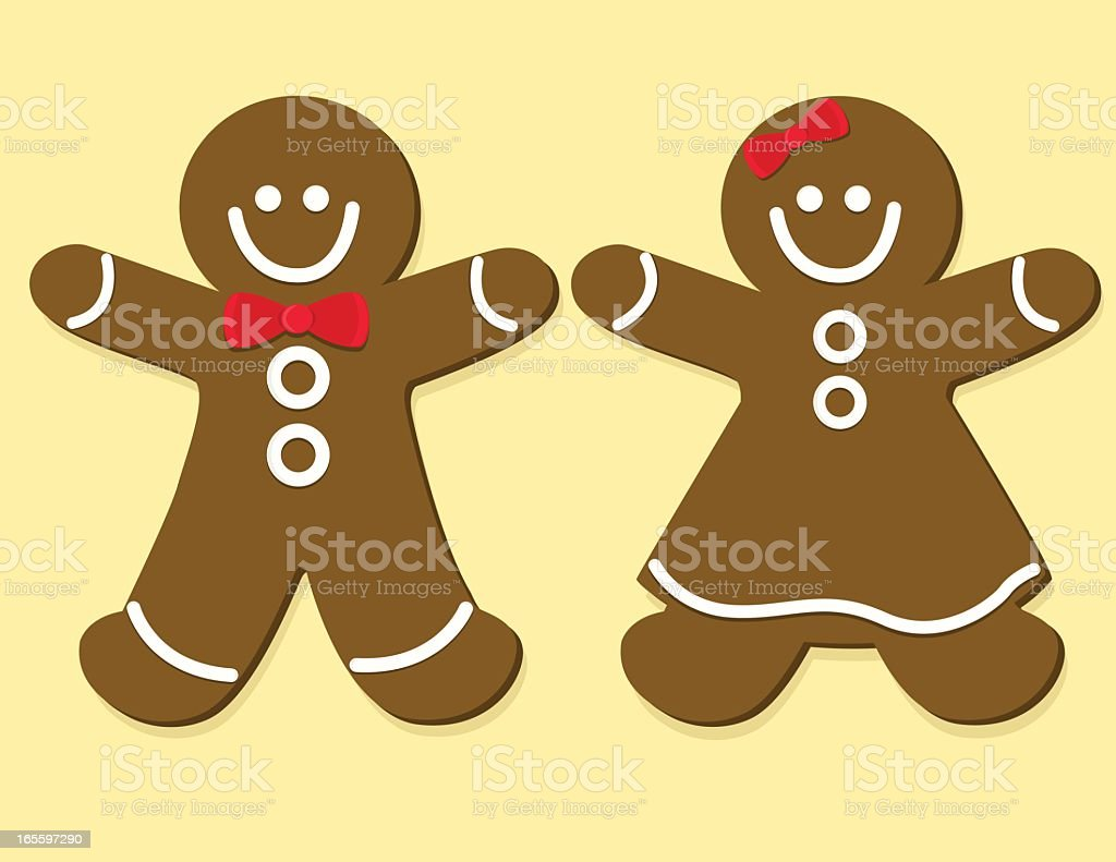 Cartoon smiling gingerbread couple royalty-free stock vector art