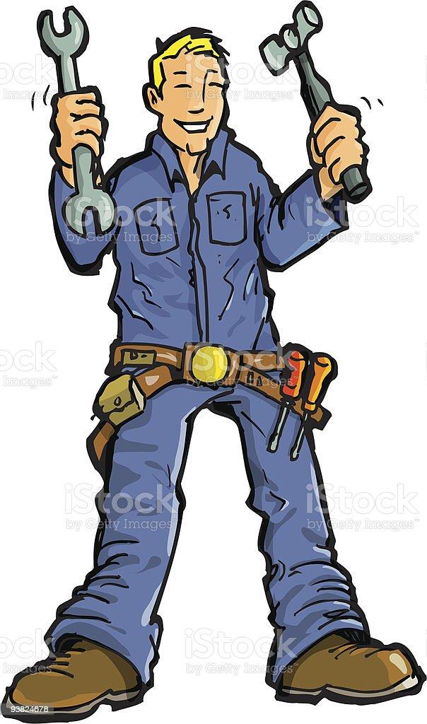 Cartoon smiling handyman holding tools royalty-free stock vector art