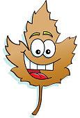 Cartoon smiling leaf.