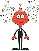 Cartoon Smiling Party Ant