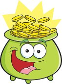 Cartoon smiling pot with gold coins.