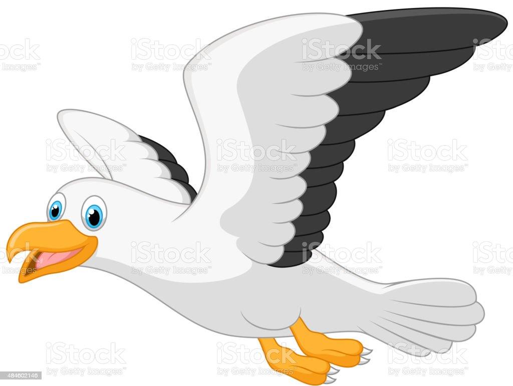 Cartoon smiling seagull on white background vector art illustration