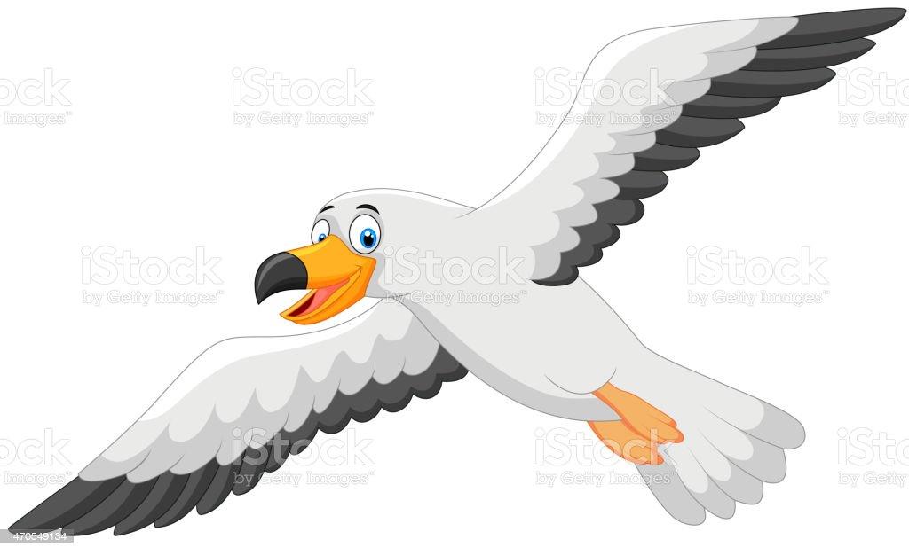 Cartoon smiling seagull vector art illustration