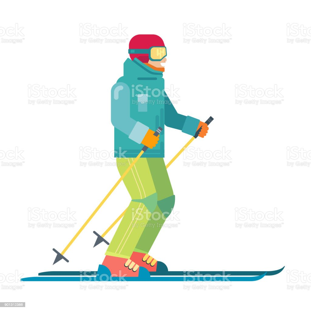 cartoon smiling skier isolated skiing sportsman character in skis