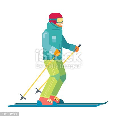 Dessin anim souriant skieur isol caract re sportif ski - Ski alpin dessin ...