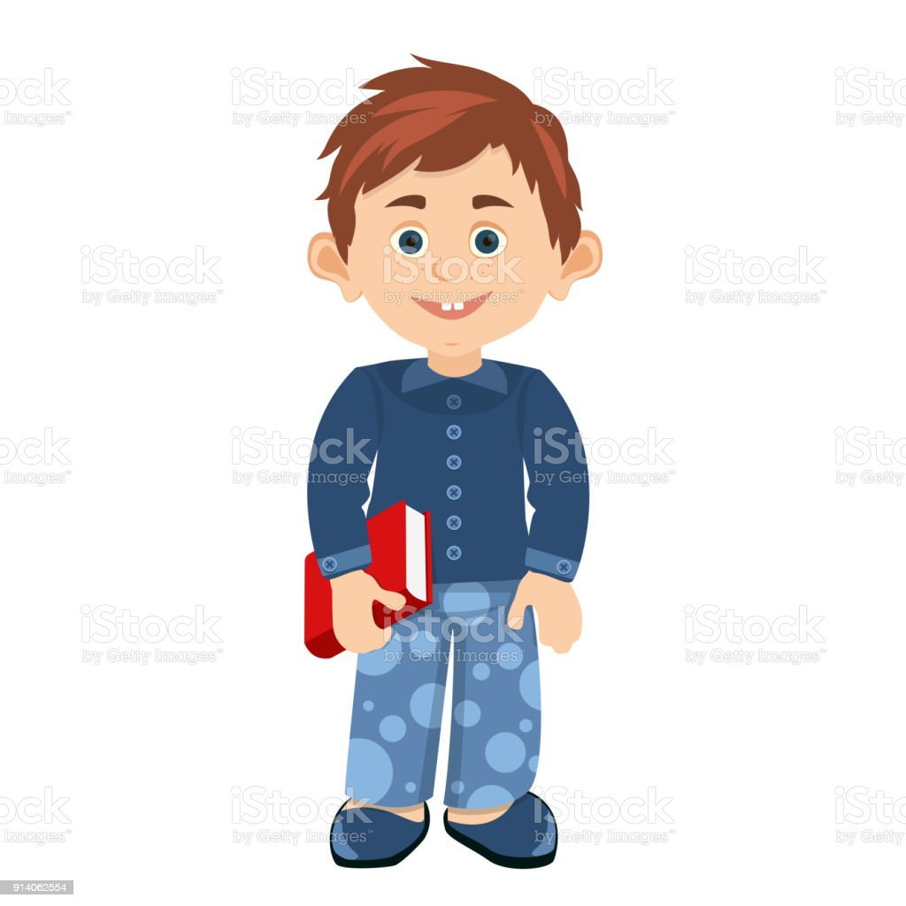 cartoon smiling small boy in nightwear and home Slippers with a book in hands vector art illustration