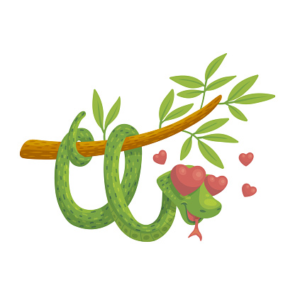Cartoon smiling snake in love with eyes heart form, cute animal.
