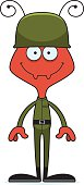 Cartoon Smiling Soldier Ant