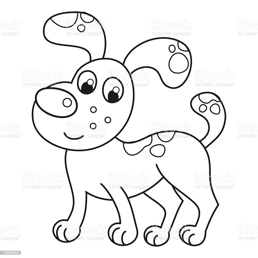 Cartoon Smiling Spotty Puppy Naughty Dog Coloring Book Page Stock ...