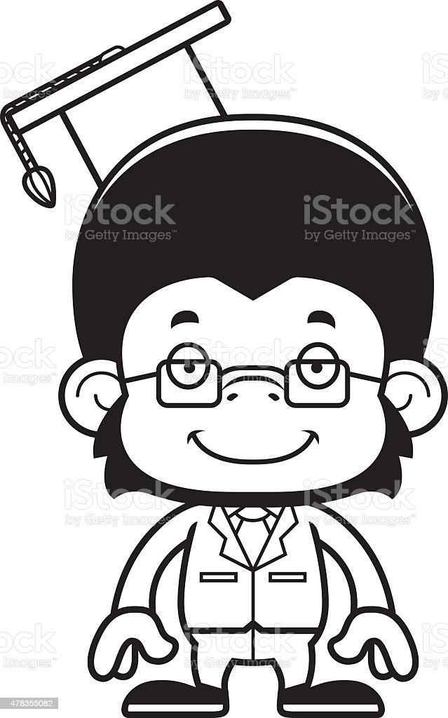 A cartoon teacher chimpanzee smiling.