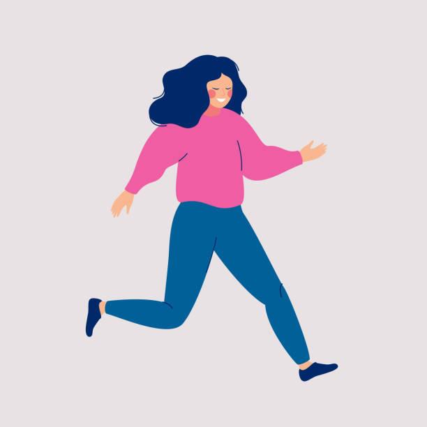 cartoon lächelnde frau ist eine große eile. - schuhe für sport und freizeit stock-grafiken, -clipart, -cartoons und -symbole