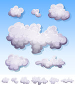 Vector illustration of a set of cartoon clouds, smoke patterns and fog icons on blue sky and isolated on white background. File is EPS10 and uses multiply transparency at 100% on shadows effects and overlay transparency on glossy effects. Vector eps and high resolution jpeg files included