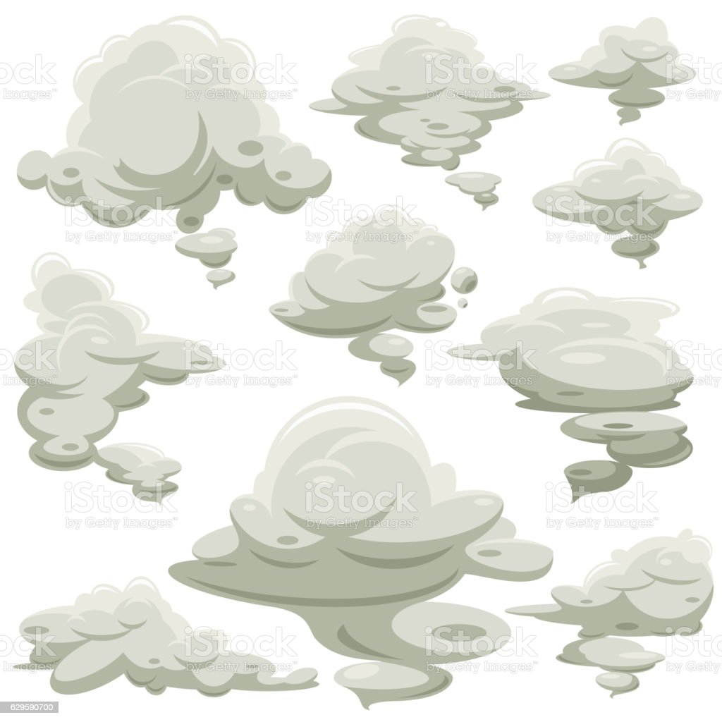 Cartoon smoke or fog vector set vector art illustration