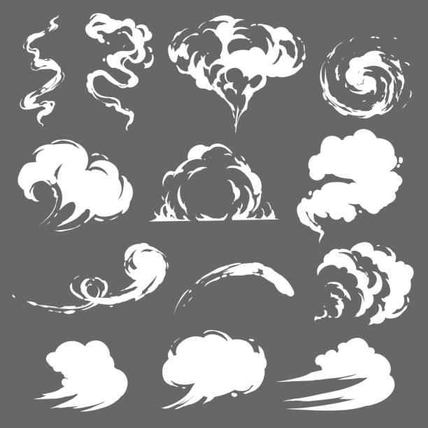 cartoon smoke set - smoke stock illustrations