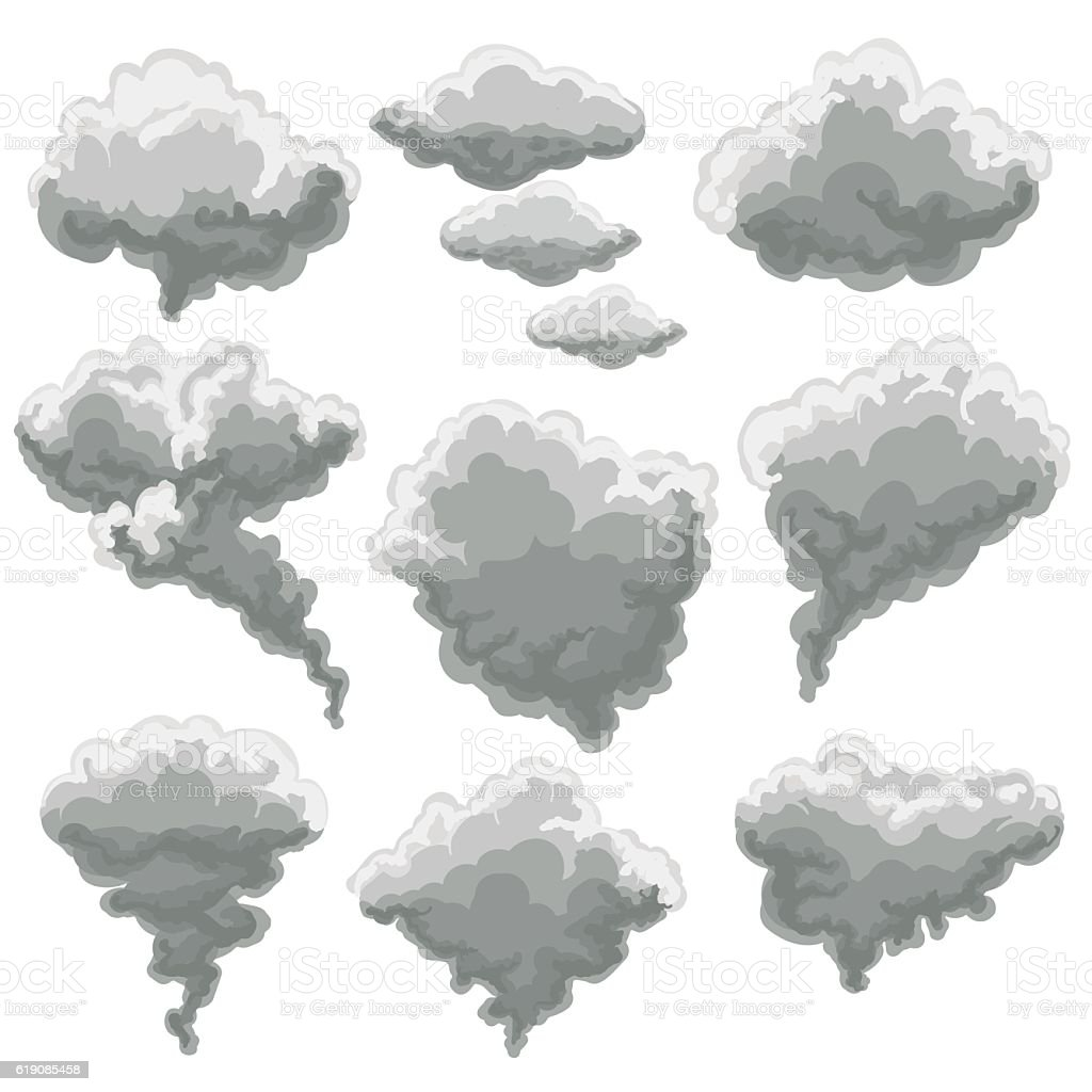 Cartoon smoking fog clouds vector art illustration