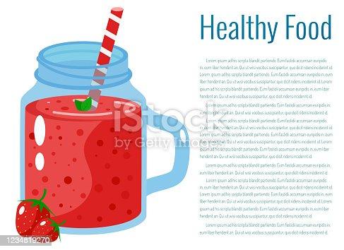 istock Cartoon smoothie. Strawberry smoothie. 1234819270