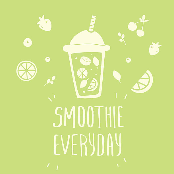 Cartoon smoothie to go cup vector art illustration