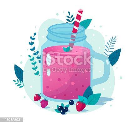 istock Cartoon smoothies.Berry smoothie. 1160828031