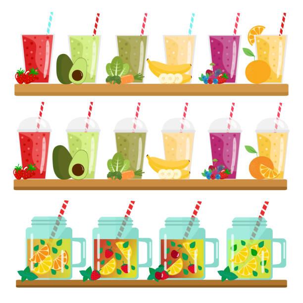 bildbanksillustrationer, clip art samt tecknat material och ikoner med cartoon smoothies. lemonad i burkar. apelsin, jordgubb, berry, grönt, banan och avokado - smoothie