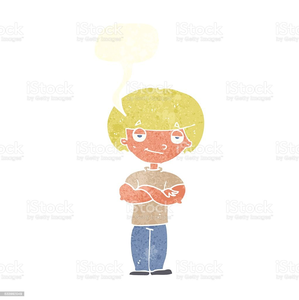 cartoon smug looking man with speech bubble vector art illustration