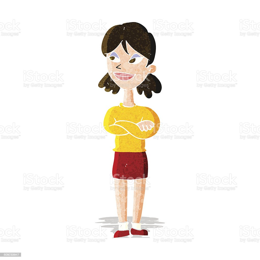 cartoon smug woman vector art illustration