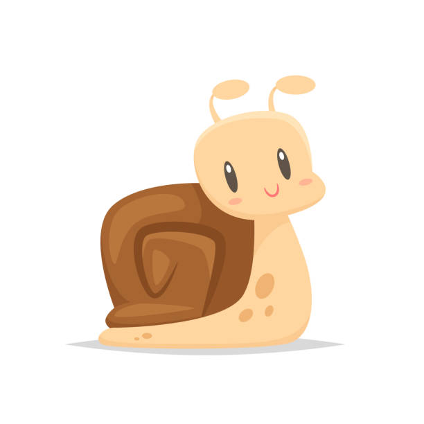 cartoon snail vector - snail stock illustrations