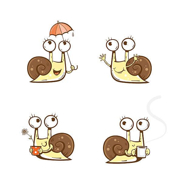 comic schnecken set. - lustige schnecken stock-grafiken, -clipart, -cartoons und -symbole