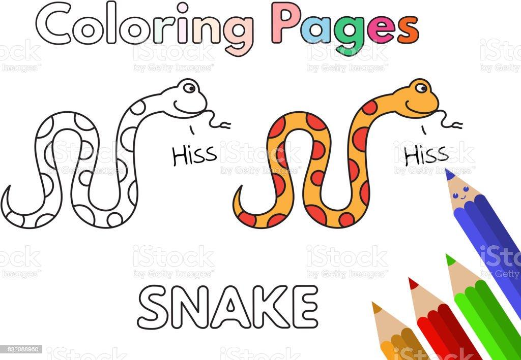 Libro De Colorear Dibujos Serpiente Illustracion Libre de Derechos ...