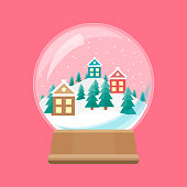 Cartoon Snow Globe with Winter Village Celebration Concept Element Flat Design Style. Vector illustration of Icon Holiday Ball Decoration