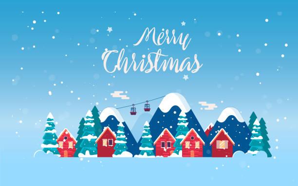 stockillustraties, clipart, cartoons en iconen met cartoon sneeuw thuis en landelijke/b & b reeks. - christmas cabin