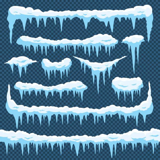 cartoon schnee eiszapfen. eiszapfen-eis mit snowcap an der spitze. winter schneit grenzen für weihnachtskarten-design. frost-frames-vektor-set - eiszapfen stock-grafiken, -clipart, -cartoons und -symbole