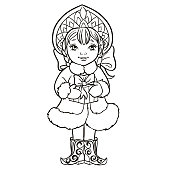 Cartoon Snow Maiden Snegurochka holds a box with a gift. Traditional Russian Christmas and New Year character. Vector illustration on a white background. Outlined for coloring book.