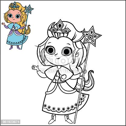 Sayfa Etkinlik Boyama Için Karakter Karikatür Kar Prenses Stok