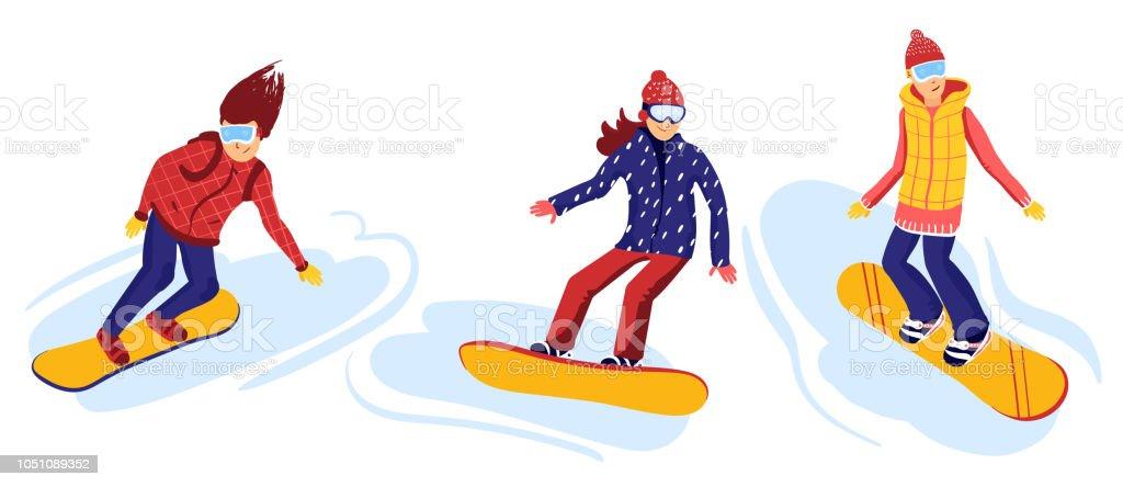 Cartoon Snowboard Riders Male And Female Winter Mountain