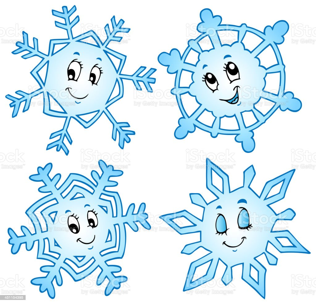 Рисунок смешной снежинки, открытки