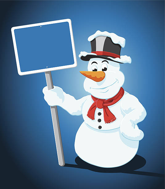 Cartoon Snowman Blank Blue Sign Vector Illustration of a snowman, who is holding a blank blue sign. The background is on a separate layer, so you can use the illustration on your own background. The colors in the .eps-file are ready for print (CMYK). Included files: EPS (v8) and Hi-Res JPG. cartoon people sign stock illustrations