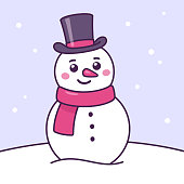 Cartoon snowman drawing in scarf and top hat. Cute Christmas character vector illustration.