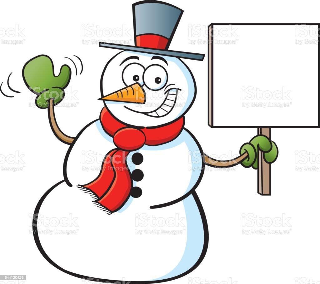 Bonhomme de neige dessin anim tenant une pancarte cliparts vectoriels et plus d 39 images de - Clipart bonhomme de neige ...