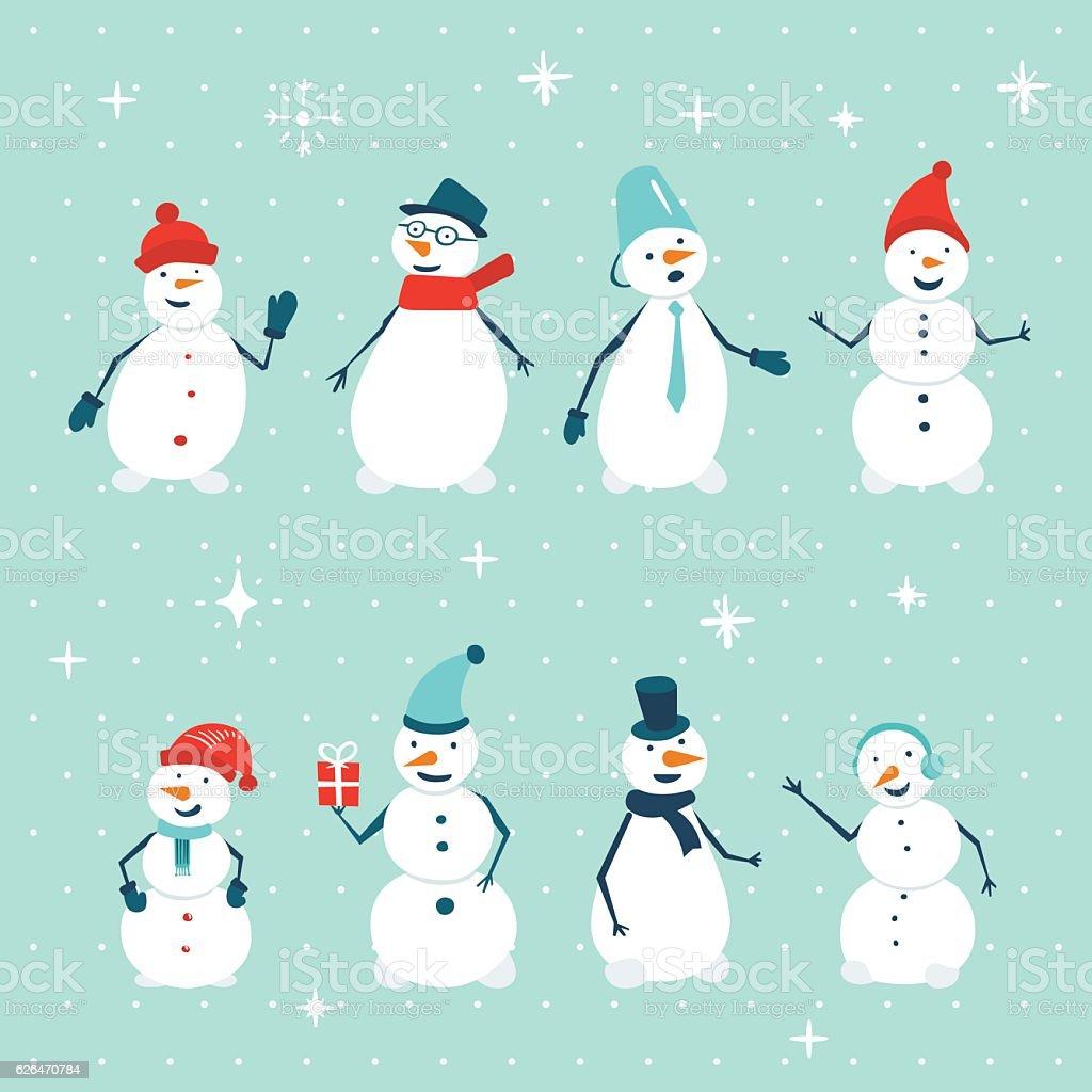 Dessin animé ensemble de bonhomme de neige - Illustration vectorielle