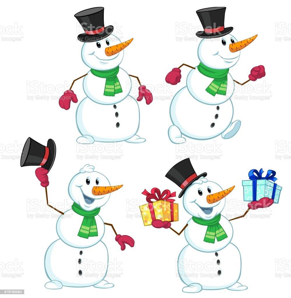 Cartoon Bonhomme de neige - Illustration vectorielle