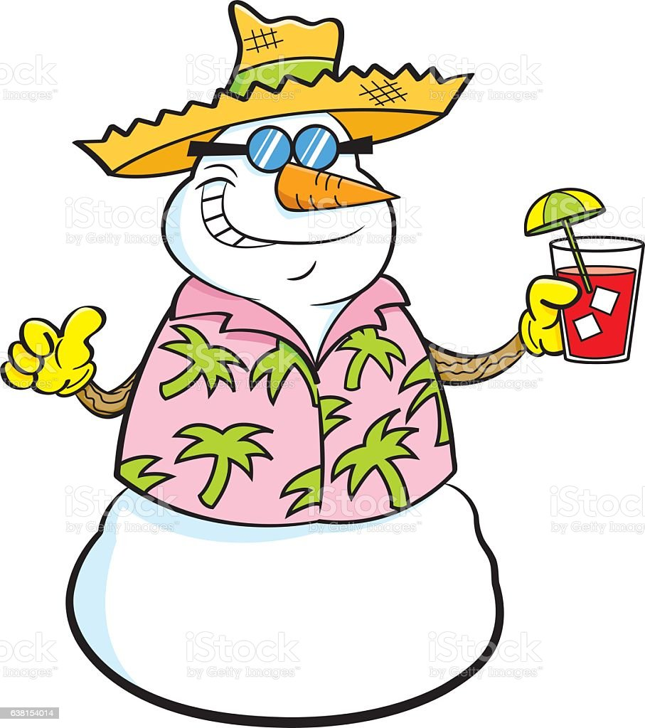 cartoon snowman wearing a straw hat and holding a tropical drink rh istockphoto com  frosty the snowman hat clipart
