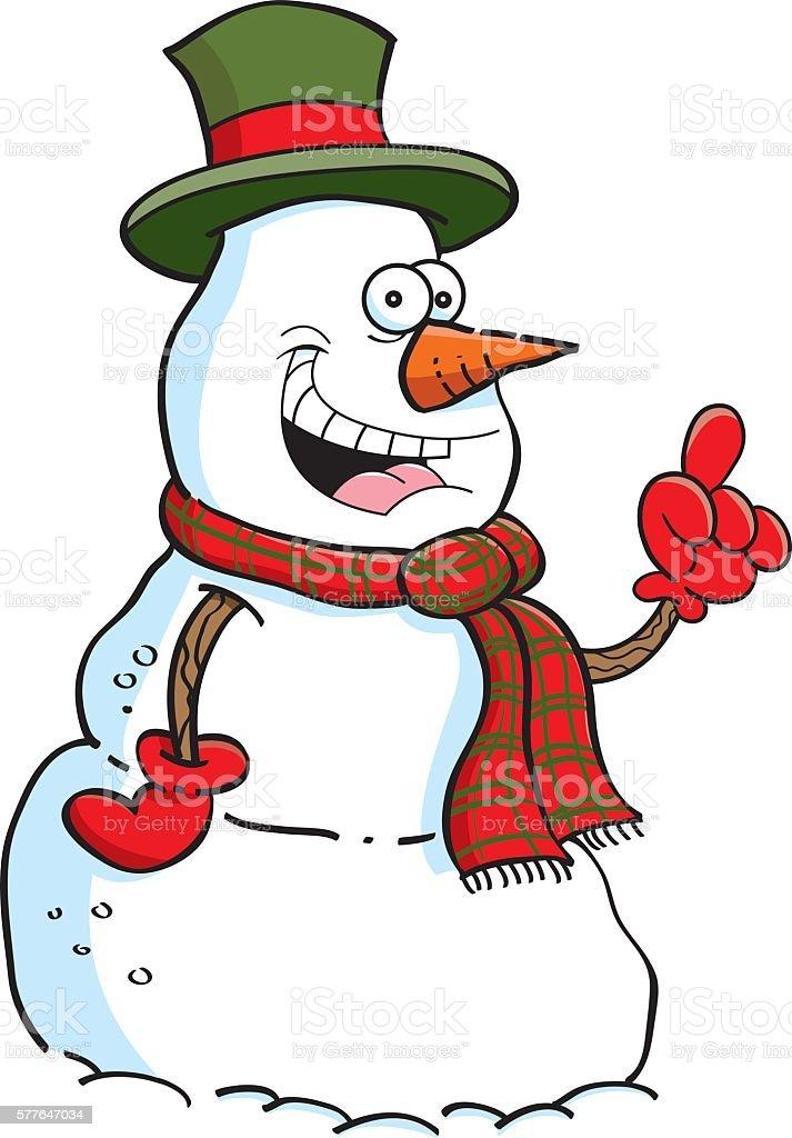 Cartoon snowman with an idea
