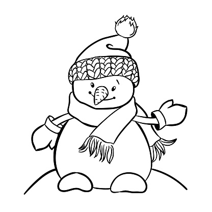 Cartoon Snowman with hat, scarf and mittens.