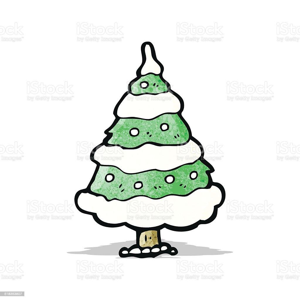 Weihnachtsbaum Comic.Comic Schneebedeckte Weihnachtsbaum Stock Vektor Art Und Mehr Bilder