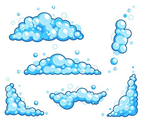 Cartoon soap foam set with bubbles. Light blue suds of bath, shampoo, shaving, mousse. Vector illustration