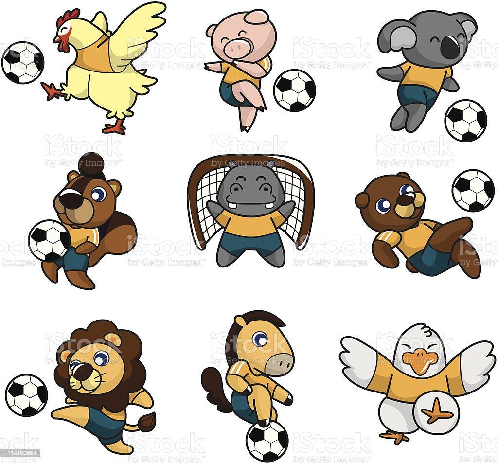 カットイラストサッカー動物アイコン - いたずら書きのベクターアート